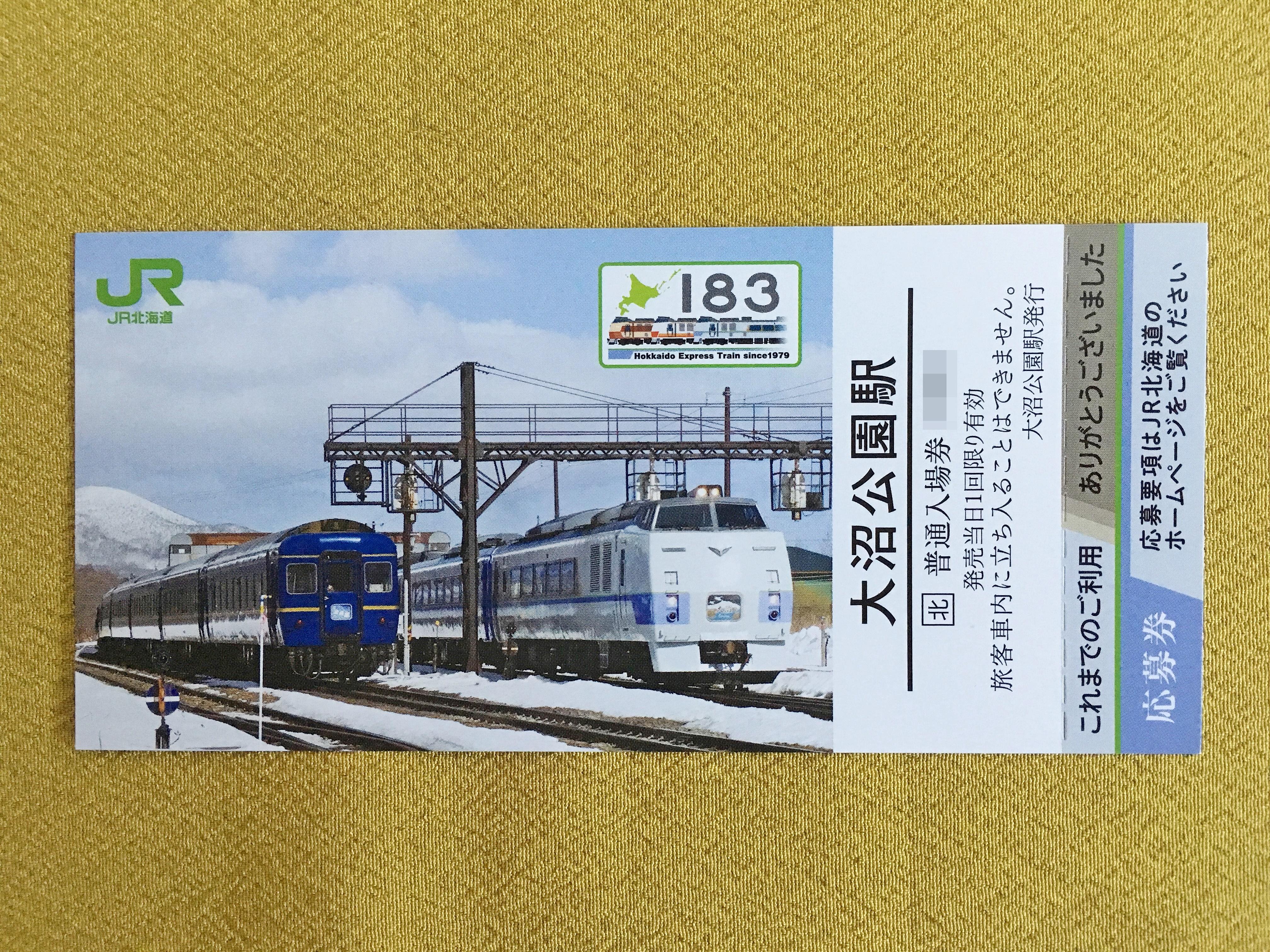 キハ183-0系記念入場券 大沼公園駅 表.JPG