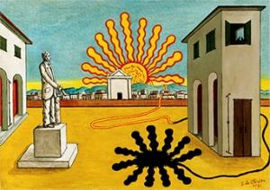 燃えつきた太陽のあるイタリア広場、神秘的な広場
