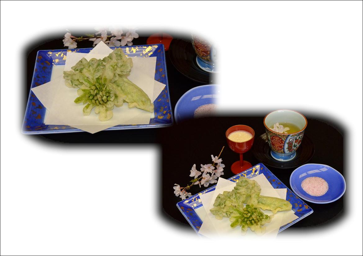 桜茶・甘酒・山菜の天麩羅