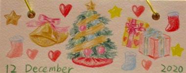 自分用卓上カレンダー12月。クリスマスの絵