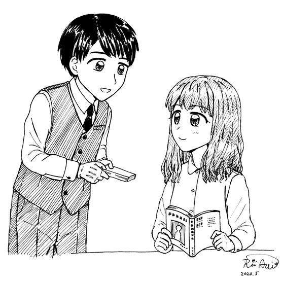 本を勧める礼諒くん