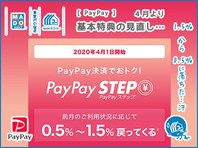 PayPay◆基本特典の見直し…、「1.5%→0.5%」に落ちた…汗
