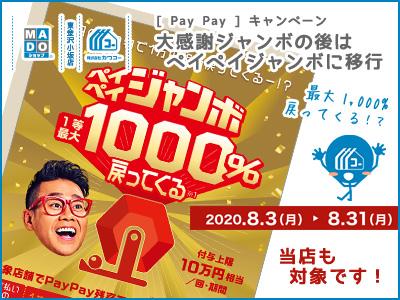 PayPay◆大感謝ジャンボの後はペイペイジャンボに移行(8月末まで)