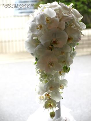 胡蝶蘭のブーケ/ウエディングブーケ@花屋 空に花束