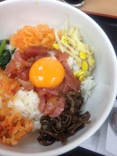 帰りのパーキングにて(マグロビビンバ丼)@富士川サービスエリアにて