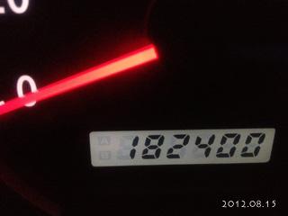 8月15日現在182400キロの今日。