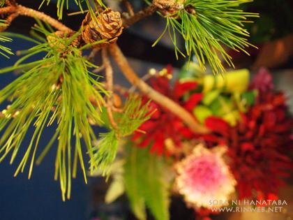 根竹花器のお正月飾り(アレンジメント)
