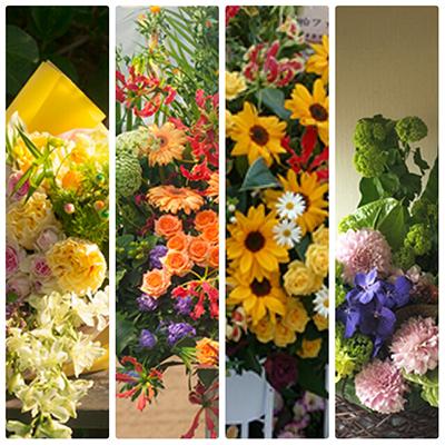 お届けできた花束、開店御祝いスタンド花、ライブ開催お祝いスタンド花を。