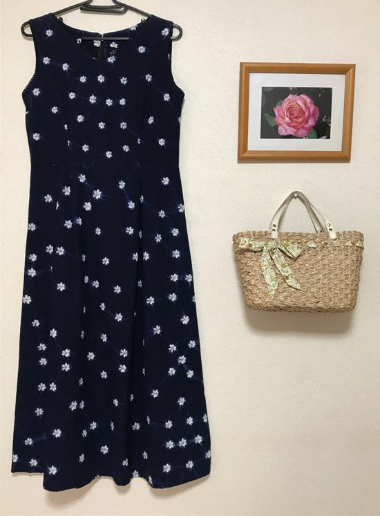 藍染め風ワンピース handmade indigo dress