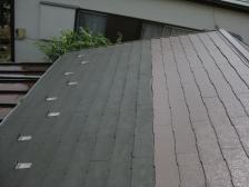 屋根補修塗装施工中