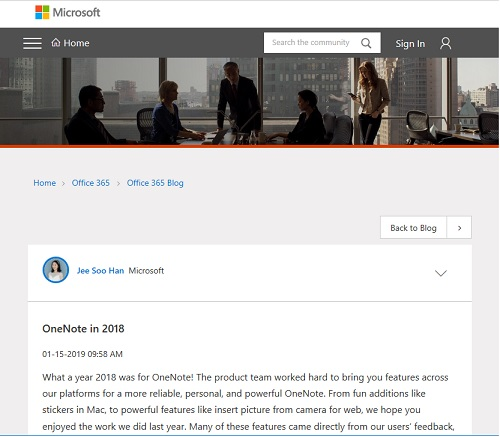 Microsoft Tech Community OneNote In 2018
