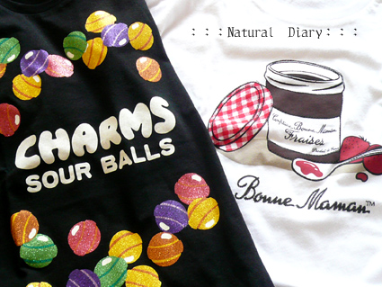 UNIQLO ユニクロ 企業コラボTシャツ CHARMS SOUR BALLS BONNE MAMAN ボンヌママン ジャム コンフィチュール チャームス 飴 キャンディー 黒い缶