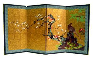 名宝障壁画屏風『梅に山鳥』