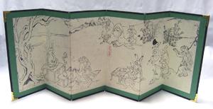 鳥獣人物戯画屏風−蛙の僧侶