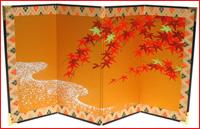 京都お飾りミニ屏風/利久屏風『紅葉』