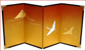 4曲屏風#5 金雲−富士に鶴