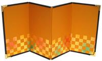 【京都和のお店】ミニ金屏風/4曲屏風#5 彩箔『市松』