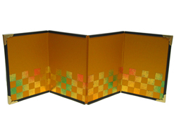 【京都和のお店】ミニ金屏風/4曲屏風#1『彩箔 市松』