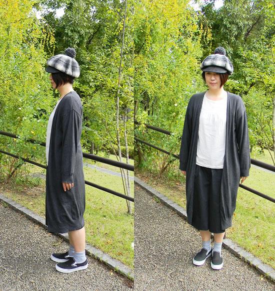 大人のポンポン付き帽子スタイル