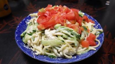140828トマトとキュウリのスパゲッティサラダ
