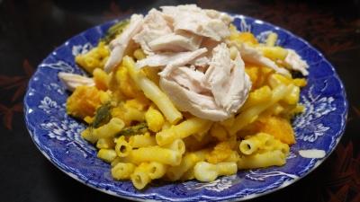 140830鶏肉とカボチャとパスタのサラダ