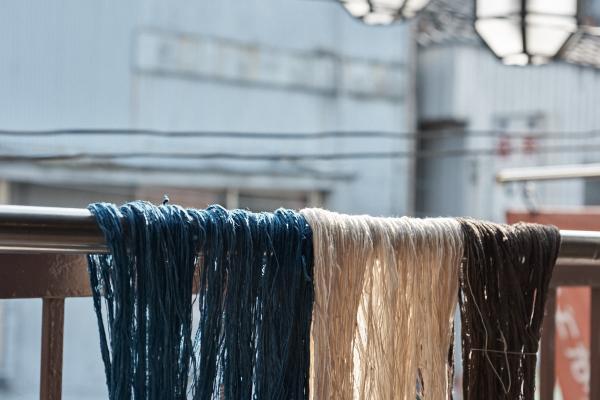木綿糸の糊付け