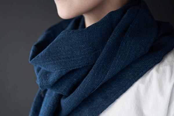 藍の木綿ストール