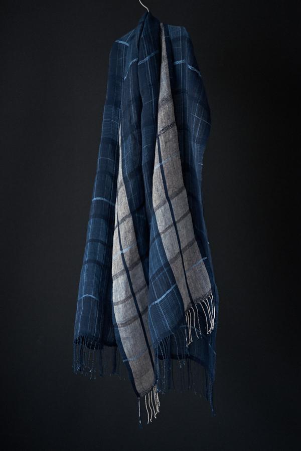 藍染リネンストール