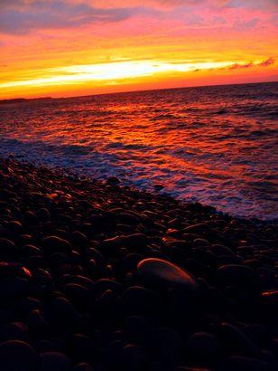 【琴浦町】鳴り石の浜の夕日