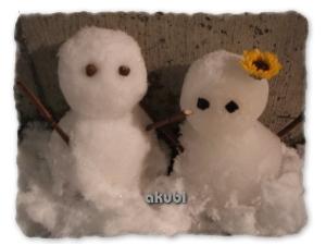 今年の雪だるまチャンたち♪
