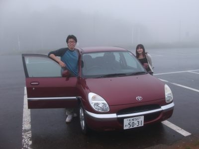 Thomas and Nozomi with our rental car
