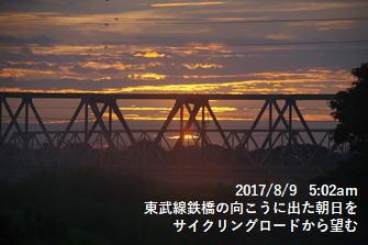 東武線鉄橋の向こうに出た朝日をサイクリングロードから望む