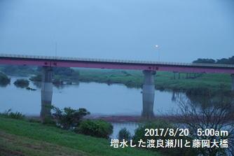 増水した渡良瀬川と藤岡大橋