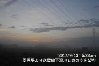 周囲堤より送電線下湿地と東の空を望む