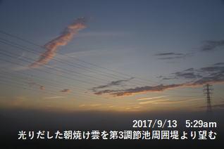 光りだした朝焼け雲を第3調節池周囲堤より望む