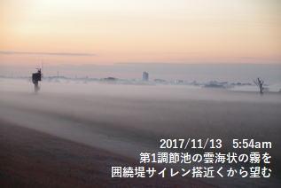 第1調節池の雲海状の霧を囲繞堤サイレン搭近くから望む