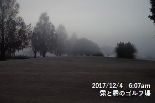 霧と霜のゴルフ場