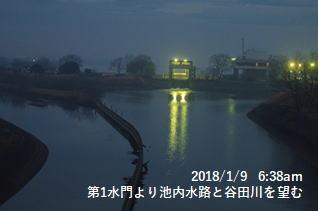 第1水門より池内水路と谷田川を望む