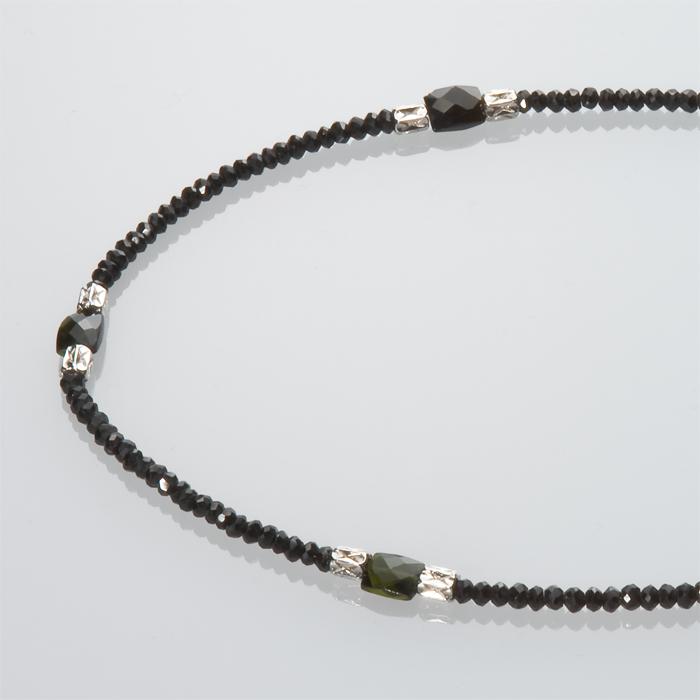ブラックスピネル(M)ネックレス W/トルマリン(タンク)シルバー筒