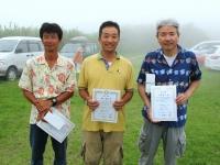 オープンクラス入賞者(左から吉田選手、優勝の豊山選手、3位の中村選手