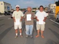 エルロン級入賞者(優勝飯山選手(中央)、2位栗田選手(左)、3位石井選手)