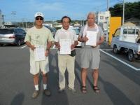 ミニ級入賞者(優勝山本選手(中央)、2位栗田選手(左)、3位菅野選手)