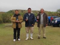 スケールクラス入賞者(2位の遠藤選手(左)、優勝の石井選手(中)、3位の田野倉選手)