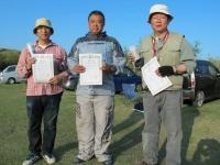 スケールクラス入賞者(優勝石井選手(中央)、2位遠藤選手(左)、3位田野倉選手(右))