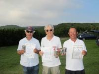 オープンクラス優勝の中村選手(中央)、2位の吉田選手(左)、3位の宮川(右)