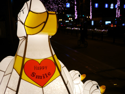 御堂筋イルミネーション「笑顔のお母さん」アヒルの灯り