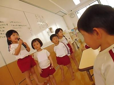 1きく組で頑張りたいことを発表しました☆ なわとび、メロディオン(鍵盤ハーモニカ)、ダンス教室・・・いろんなことを発表してくれました?.JPG