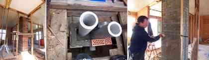 煙突を造る。レンガを積み、中には煙突本体の管と換気用のパイプを配管。すき間には軽石を。屋内部分は薄いセメントでレンガを覆う