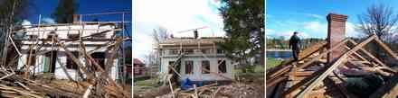 屋根壊す。家のまわりは廃材の山。屋根を取り除くと新品の煙突が誇らしげに登場した