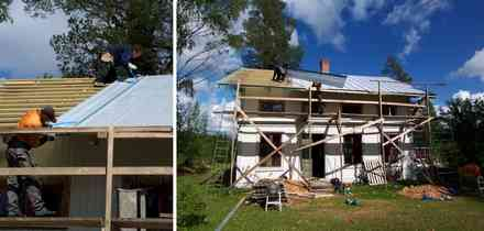 5.2mの長いプロートをひとつずつはめ、ねじ止めする。高い屋根の上なので慎重に。雨の日は滑りやすいので屋根の作業は中止